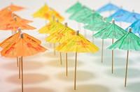 Row of umbrellas on beach