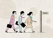"Illustrative image of candidates walking towards """"jobs"""" sign representing recruitment."