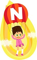 Illustration of girl parasailing in mid air.