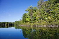 Reflection of clouds and forest on Blue Lake, Seguin Township, Parry Sound, Ontario, Canada.