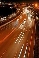 Highway at nigth, Barcelona, Catalonia, Spain