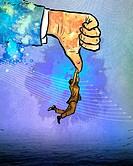 Illustrative image of businessman holding superior's thumb representing business depression.