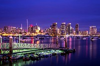 San Diego Harbor and Downtown Skyline at night . San Diego, California, United States.