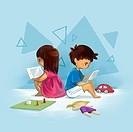 Illustrative image of children using digital tablet representing computer addiction.