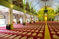 Prayer Hall of the Masjid Sultan Mosque in Singapore.