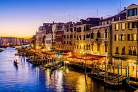 View of The Grand Canal & Venetian Architecture From The Rialto Bridge, Venice, Italy.