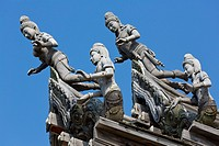 Wooden Sculptures on the Rood of the Sanctuary of Truth in Pattaya, Thailand.