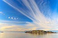 View across Hammond Bay towards Shack Island, Pipers Lagoon Park, North Nanaimo, Vancouver Island, BC.