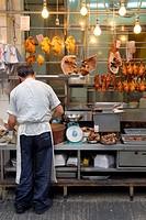 Hong Kong, China, Asia. Hong Kong Kowloon. Butcher at work.