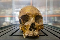 Human skull at the Tuol Sleng Genocide Museum, a former high school and the site of Security Prison 21 under the Khmer Rouge, Phnom Penh, Cambodia, Kh...