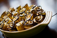 sicilian eggplant roll-ups with ricotta cheese.