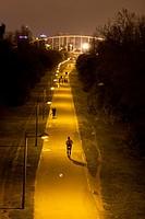 People running, Jardines del Turia, Valencia; Comunidad Valenciana; Spain.