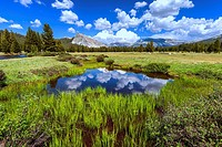 Clouds reflecting off of pond at Tuolumne Meadows. Yosemite National Park, California, United States.