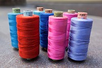 Colorful spools at the shop in town center, Kas, Antalya Region, Turkish Riviera, Turkey, Europe.