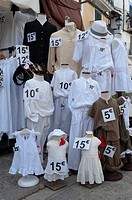 Mannequin dressed with white clothes, Eivissa, Ibiza, Balearic Islands, Spain, Mediterranean, Europe.