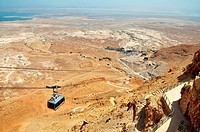 Cable car heading down from Masada, Israel.