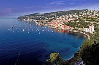 Europe, France, Alpes-Maritimes, Villefrance-sur-Mer. The bay and old town at early morning.