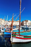 """Europe, France, Var, Saint-Tropez. Traditional fishing boat, named """"""""pointu"""""""" in the old port."""