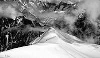 exploring Mt Blanc range, French Alps, France.