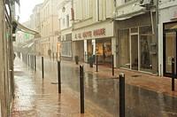 Villeneuve-sur-Lot during rain storm, Lot-et-Garonne Department, Aquitaine, France.