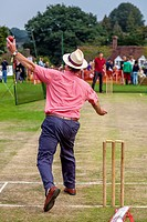 Hit The Wicket (A Traditional Game) Being Played, Hartfield Village Fete, Sussex, England.