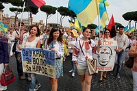Rome, Italy 21st September 2014 - Demonstration for peace in Ukraine by the Italian based Ukranian community in Rome Italy.