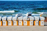 beach chairs at the Baltic Sea in Poland.