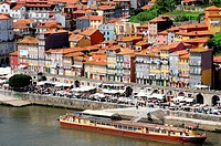 Cais da Ribeira, historical district of Ribeira, alongside the Douro river, Worl heritage site, Porto, Oporto, Portugal.