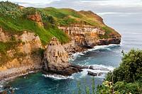 Arnadal cliffs. Isla. Santander. Cantabria. Spain. Europe.