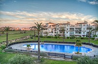 HDR image of the Swimming Pool and Golf Course from an apartment on Hacienda Riquelme Golf Resort, Murcia, Spain.