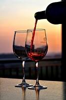 Glass of wine in the Hotel Heredad de Ugarte, Laguardia, La Rioja, Alava, BAsque Country, Spain, Europe.