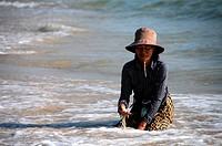 Cambodian Women looking for shells on the beach of Sihanoukville