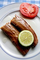 Greek Cuisine, Smoked Makerel Fillets in Olive Oil.
