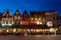 Markt square, Bruges, West Flanders, Belgium.