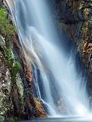 Gorg Negre waterfall at Gualba stream. Montseny Natural Park. Barcelona province, Catalonia, Spain.