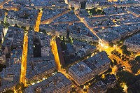 Nightfall in Paris, Ile-de-France, France.