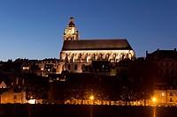 Church of Blois at night, Loire et cher, Centre, France.