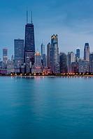 Chicago Waterfront at dusk, Illinois, USA.