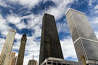 Chicago Water Tower, John Hancock Center, and other skyscrapers in Chicago, Illinois, United States.
