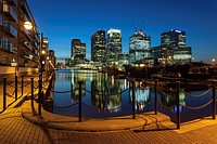 Spring evening at Canary Wharf, London, England.