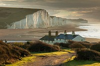 Early winter morning at Coastguard Cottages and Seven Sister cliffs, East Sussex, England.