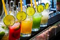 Assorted fruit soft drinks.
