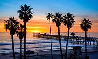 San Clemente Pier at sunset, California, USA.
