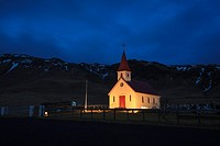 Church and small cemetery in Dyrholaey. Vik. Iceland.
