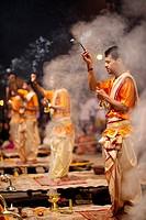 Ganga Aarti takes place everyday at dusk at Dashashwamedh Ghat.