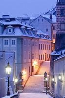 Czech Republic, Prague - Lesser Quarter (Mala Strana) in winter.