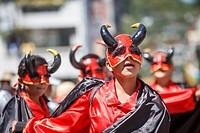 Children´s parade crews, Desfile de Cuadrillas Infantiles. Crew with devil costume.