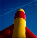 Inflatable bouncy castle, detail, blue sky background