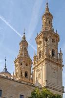 Santa Maria la Redonda Cathedral towers in Logrono,La Rioja,northern Spain.