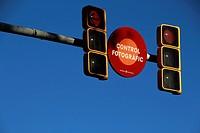 Photografic control, control fotografic and traffic lights. Barcelona, Catalonia, Spain.